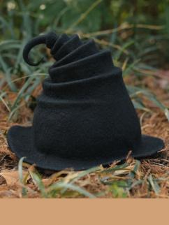Handmade Magic Elves All Black Wool Felt Witch Hat