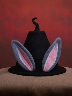 Handmade Bunny Ears Wool Felt Witch Hat