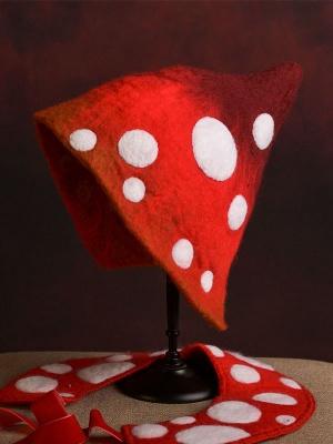 Little Red Riding Hood Handmade Polka Dot Wool Felt Hat