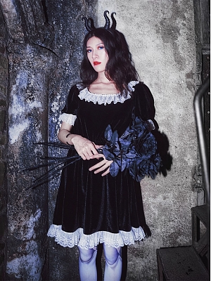 Back to Black Series Dark Gothic Velvet Lace Trim Short Sleeves Dress by Metal Witch