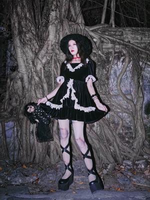 Back to Black Series Dark Gothic Velvet Lace Trim V-neck Mini Dress by Metal Witch