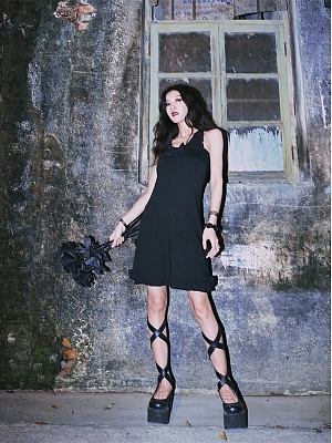 Back to Black Series Dark Gothic Bowknot Round Neckine Sleeveless Dress by Metal Witch