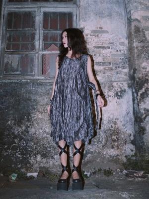 Back to Black Series Dark Gothic Self-tie Round Neckline Sleeveless Dress by Metal Witch