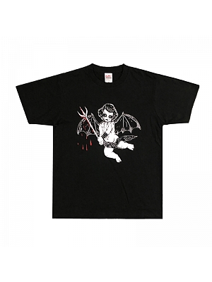 Corpse Paint Series Gothic Dark Corpse Face Angel Print Short Sleeves T-shirt by Metal Witch