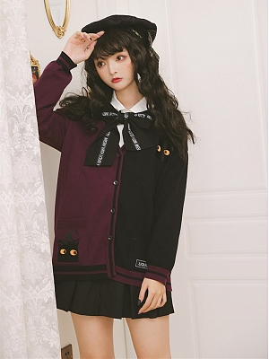 Liquid Cat 5 Colors Halloween V-neck Long Sleeves Ouji Lolita Cardigan with Tie