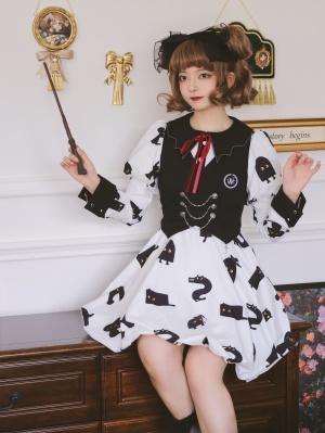 Liquid Cat 5 Colors Halloween Bat Collar Puff Sleeves Lolita Dress OP Set
