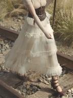 Victoria Multi-layered Ruffled Mesh Midi Skirt  by Mr Yi's Steamland