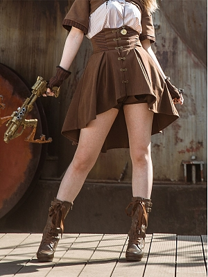Steampunk Brown Empire Waist A-line Skirt by Mr Yi's Steamland