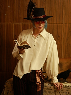 Vintage Pirate Style Neutral White Chiffon Long Lantern Sleeve Shirt by Mr Yi's Steamland