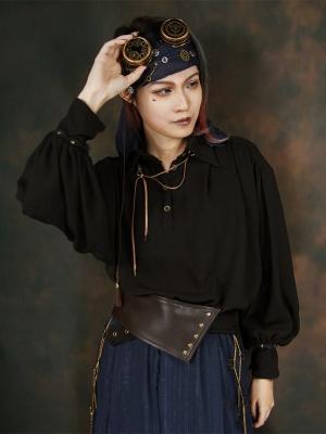 Vintage Pirate Style Neutral Black Chiffon Long Lantern Sleeve Shirt by Mr Yi's Steamland