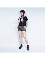 Steampunk Studded Heart Print Short Sleeves T-shirt by Mr Yi's Steamland