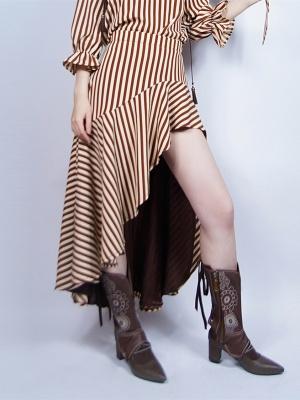 Steampunk Retro Striped Chiffon Irregular Flounce Hem Skirt by Mr Yi's Steamland