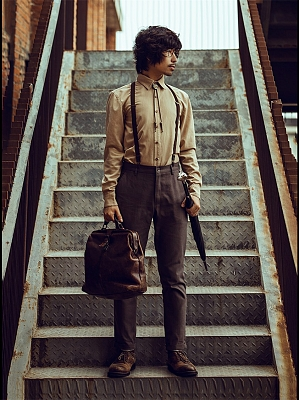 Vintage Khaki Men's Long Sleeves Shirt by Mr Yi's Steamland