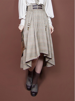 Vintage Light Coffee Gray A-line Plaid Skirt by Mr Yi's Steamland