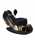 Handmade Steampunk Vintage Feather Goggles Wool Top Hat by Mr Yi's Steamland