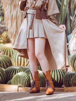 Steampunk Two-wear Irregular Hem Pleated Skirt by Mr Yi's Steamland