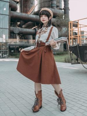 Pumpkin Color A-line Cotton Suspender Skirt by Mr Yi's Steamland