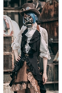Wine Red / Black Halter Neck Flounce Hem Sleeveless Long Tail Vest by Mr Yi's Steamland