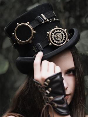 Handmade Steampunk Black Vintage Wool Gear Goggles Top Hat  by Mr Yi's Steamland