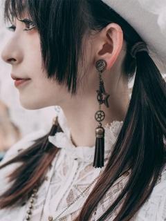Handmade Steampunk Metal Gear Tassel Wooden Star Earrings by Mr Yi's Steamland