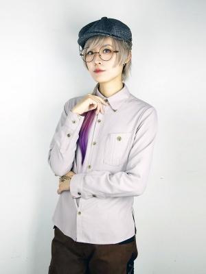 Light Gray Netural Button-down Collar Long Sleeve Shirt by Mr Yi's Steamland