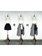 Black and White Houndstooth Cotton Two Wearing Styles A-line Pleated Skirt by Mr Yi's Steamland