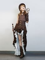 Steampunk Victoria White Chiffon Multilayer Vintage High Waist Long Skirt by Mr Yi's Steamland