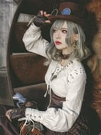 Steampunk Retro Lace-up White Cotton Long Sleeve Shirt by Mr Yi's Steamland