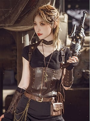 Steampunk Coffee PU Leather Underbust Corset Vest Top by Mr Yi's Steamland