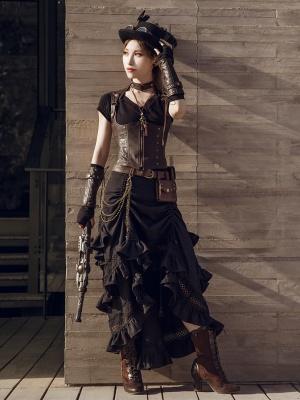 Steampunk Vintage Black Multi-layer Ruffled Drawstring Irregular Skirt by Mr Yi's Steamland