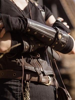 Steampunk Coffee PU Leather Rivet Bracer by Mr Yi's Steamland