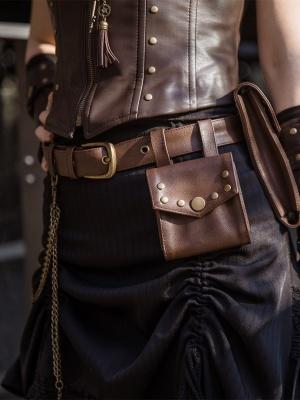 Steampunk Vintage Coffee Metal Chain Decorative Waist Belt with Waist Bag by Mr Yi's Steamland