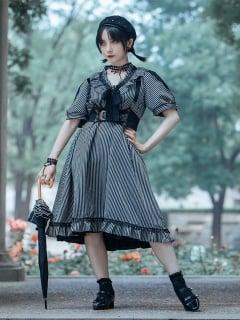 Steampunk Vintage Gothic Short Puff Sleeves Doll Dress