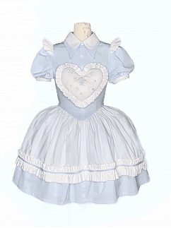 Alice Illustrated Book Pointed Collar Short Puff Sleeves Sweet Lolita Dress OP by Nololita