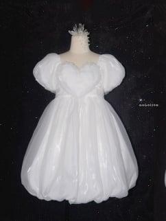 Air Pupa Square Neckline Short Puff Sleeves Lolita Dress OP by Nololita