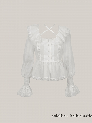 Illusion Rose Square Neckline Long Sleeves Classic Lolita Shirt