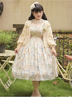 Plus Size Blank Letter Bishop Sleeves Lolita Outerwear