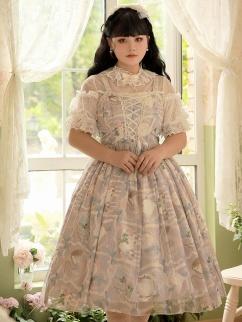 Plus Size Blank Letter Criss-cross front Lolita Dress JSK