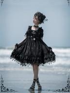 Star Signs Gold Stamping Elegant Gothic Lolita Dress Stars Drops Skirt Hemline Lolita OP by SHIMOTSUKI SAKUYA