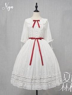 Summer Ringo Plain Color Peter Pan Collar 3/4 Sleeves Elegant Lolita Dress OP by NyaNya