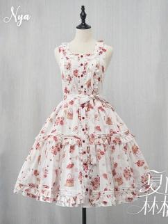 Summer Ringo Square Neckline Print Elegant Lolita Dress JSK by NyaNya