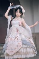 Floating Dream Empire Waist Gorgeous Han Lolita Dress OP Full Set