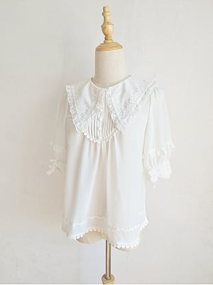 Pointed Collar Short Puff Sleeves Lolita Blouse by Orchid Lane