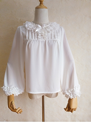 Lace Ruffled Round Neckline Short Sleeves / Long Sleeves Lolita Blouse by Orchid Lane