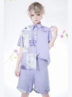 Romantic Theme Prince Ouji Lolita Purple Short Sleeves Shirt / Shorts Set by Princess Chronicles