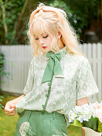 Limited Florescence Cross Pattern Ouji Lolita Short Sleeves Shirt by Princess Chronicles