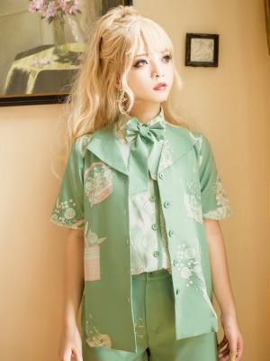 Limited Florescence Flower Basket Pattern Ouji Lolita Shirt by Princess Chronicles