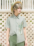 Limited Florescence Flower Pattern front Ouji Lolita Green Shirt by Princess Chronicles