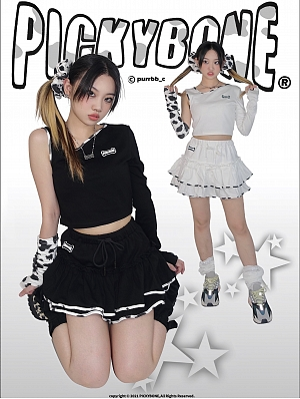 Cow Side Y2K Diagonal Collar Irregular Long Sleeves Top / Skirt