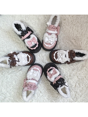 Cloudy Sweetheart Round Head Bowknot Decortive Plush Lining Lolita Shoes